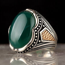 Solid 925 Sterling Silver Turkish Handmade Oval Green Agate Men's Ring