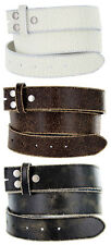 Distressed Cowhide Leather Belt Strap 1-1/2'' Wide, Black Brown White Colors