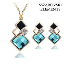 collier boucles d'oreilles Swarovski® Elements carrés BLEU TURQUOISE NOIR doré