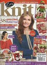 Let's Knit magazine 38 patterns Crochet wrap Hat cowl mitts Festive Christmas