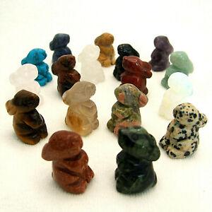 Gemstone Rabbit Hand Carved Ornament Amethyst Quartz Tigers Eye Aventurine Stone