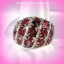 Raspberry Rhodolite Garnet Dome Ring 925 Sterling Silver/Platinum SZ-9 NEW