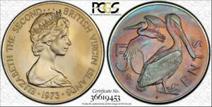 1973-FM BRITISH VIRGIN IS. 50 CENTS BU PCGS MS67 COLOR TONED COIN ONLY 2 HIGHER