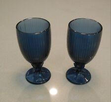 Vintage Blue Glass Milkshake Glasses Goblets Heavy