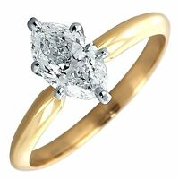 1 Ct Marquise Solitaire Engagement Wedding Promise Ring Real 18K Yellow Gold