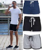 Mens Short Retro Shorts - Elasticated Waistband - Contrast Binding - Summer
