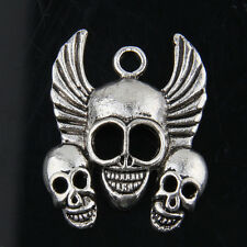 8pcs Tibetan Silver Skull Pendants Charms For Jewelry Making 33x26mm