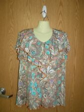 N Touch- size Xl ruffled neckline- poly/spandex tunic- butterfly sleeves
