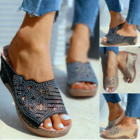 ❤️ Women's Rhinestone Wedge Mid Heel Hollow Out Sandals Summer Casual Shoes Size