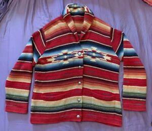 Hand Knit Ralph Lauren Aztec Indian Southwestern Serape Concha Sweater Like RRL