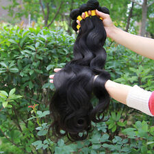 3 Bundles Brazilian Virgin 100% Human Hair Weft Extension Body Wave Black 150g