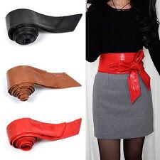 De Cuero PU para Mujeres Damas Envoltura alrededor de la cintura de ancho Cinturón de lazo corsé Cinch Mujer