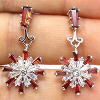Ruby Diamond Halo Dangle Earrings Women Wedding 14K White Gold Plated Jewelry
