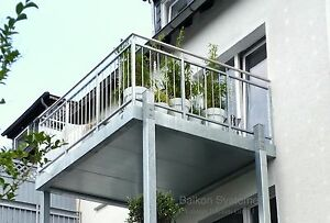 3 x 2 m Balkon Vorstellbalkon Anbaubalkon Stahl verzinkt Geländer Stabgeländer