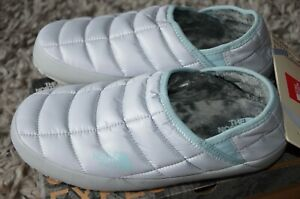 Womens 10 The North Face ThermoBall Tent Mule V Slippers GREY/CLOUD BLUE