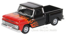 Oxford 1965 Chevrolet Black w/Flames Stepside Pickup Truck Diecast Metal 1/87 HO