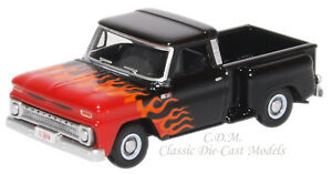 1965 Chevrolet Black w/Flames Stepside Pickup Truck 1/87 HO Oxford 87CP65004