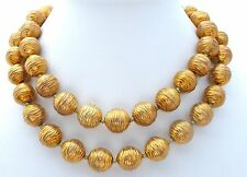 Donald Stannard Necklace Vintage Large Bead Statement Gold Copper Hand Knotted