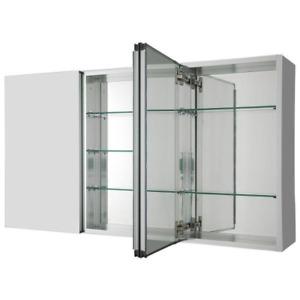 Pegasus Bathroom Medicine Cabinet 36 in. x 31 in. Tri-View Beveled Mirror