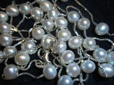 "Italian 48"" White Cultured Pearl 6-6.5mm Necklace Sterling Chain Old stock Mint"