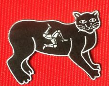 ISLE OF MAN MANX BLACK CAT BADGE IRON SEW SOW ON PATCH NY TREE CASSYN TT RACING