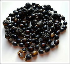 Antique Hand Carved Ebonised Gilded Horn Prayer Beads Necklace