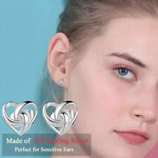Dainty 925 Sterling Silver Plated Twisted Celtic Love Heart Knot Stud Earrings