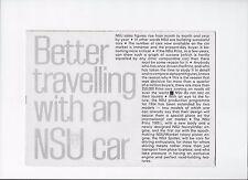 1964 NSU voiture BROCHURE: NSU PRINZ 4, Prinz 1000 L, SPORT Prinz Coupé & Spider