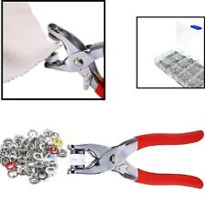 120pcs Metal Prong Plier Ring Press Studs Snap Poppers Fastener Tool 9.5mm w/Box