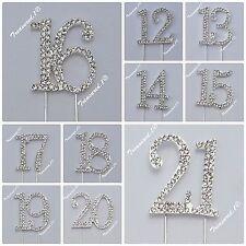 # Cake Pick Number Topper Rhinestone Diamante Gems 12 13 14 15 16 17 18 19 20 21