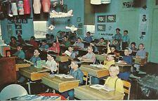 """Rockome-Arcola IL """"Amish Children in One Room School""""  Postcard Illinois"""