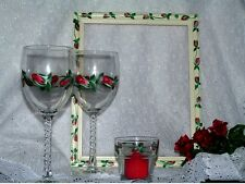 "Hand Painted "" Rose Romance"" Wine Glass Set"