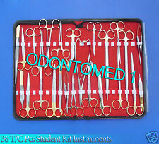 36 Tc Surgical Veterinary Student Kit Instruments W/Tungsten Carbide Inserts