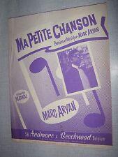 PARTITION MUSICALE BELGE MARC ARYAN MA PETITE CHANSON