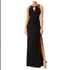Adrianna Papell Lace Shoulder Jersey  Draped Black Gown Size 12