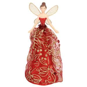 18.5cm Gisela Graham Red & Gold Glitter Fairy Christmas Tree Topper