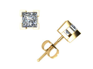 Real 0.40Ct Princess Cut Diamond Basket Stud Earrings 14k Gold V-Prong Set I SI2