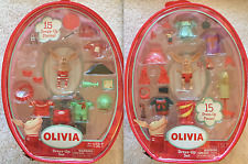 "2 NEW Olivia Pig 3"" Doll Figure 15-Piece Dress-Up Playsets Vinyl Bag SEALED"