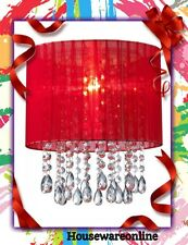 Organza & Hanging Beaded Ceiling Lampshade  Red