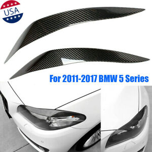 For 2011-17 BMW F10 M5 5 Series Carbon Fiber Sticker Car Headlight Cover Eyebrow
