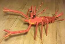 Metal Rebar Art Lobster Pink Sea Ocean Animal Nautical Display Statue Decor