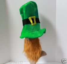 ST PATRICK'S DAY GREEN LEPRECHAUN HAT W/ BEARD IRISH FOLKLORE FAIRIES PARTY G043