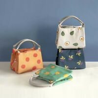 JW_ Portable Fruit Print Thermal Insulation Lunch Bags Office Picnic Food Bent