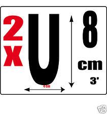 lot 2 lettres [U] Sticker autocollant noir hauteur 8cm Lettre adhésive en vinyle