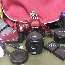 Red Nikon D3300 Camera, Lens AF-S DX 18-55mm, XL Matching Crumpler Bag + Extras