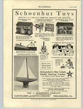 1929 PAPER AD Schoenhut Toys Piano Doll House & Furniture Mercury Sailboat