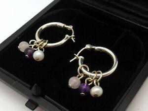 925 Sterling Silver Earrings Rose Quartz Amethyst Freshwater Pearl Pendants