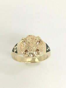 Masonic/Shriners Double Headed Eagle 32nd Degree 14K Yellow Gold Ring Size 10.5