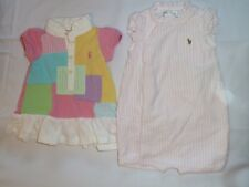 RALPH LAUREN BABY GIRL OUTFITS PATCHWORK POLO DRESS ROMPER SPRING SUMMER 0-3