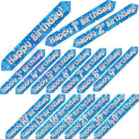 New Blue Boys Holographic Age 9 Ft Long Foil Banners Birthday Party Banner 1-50
